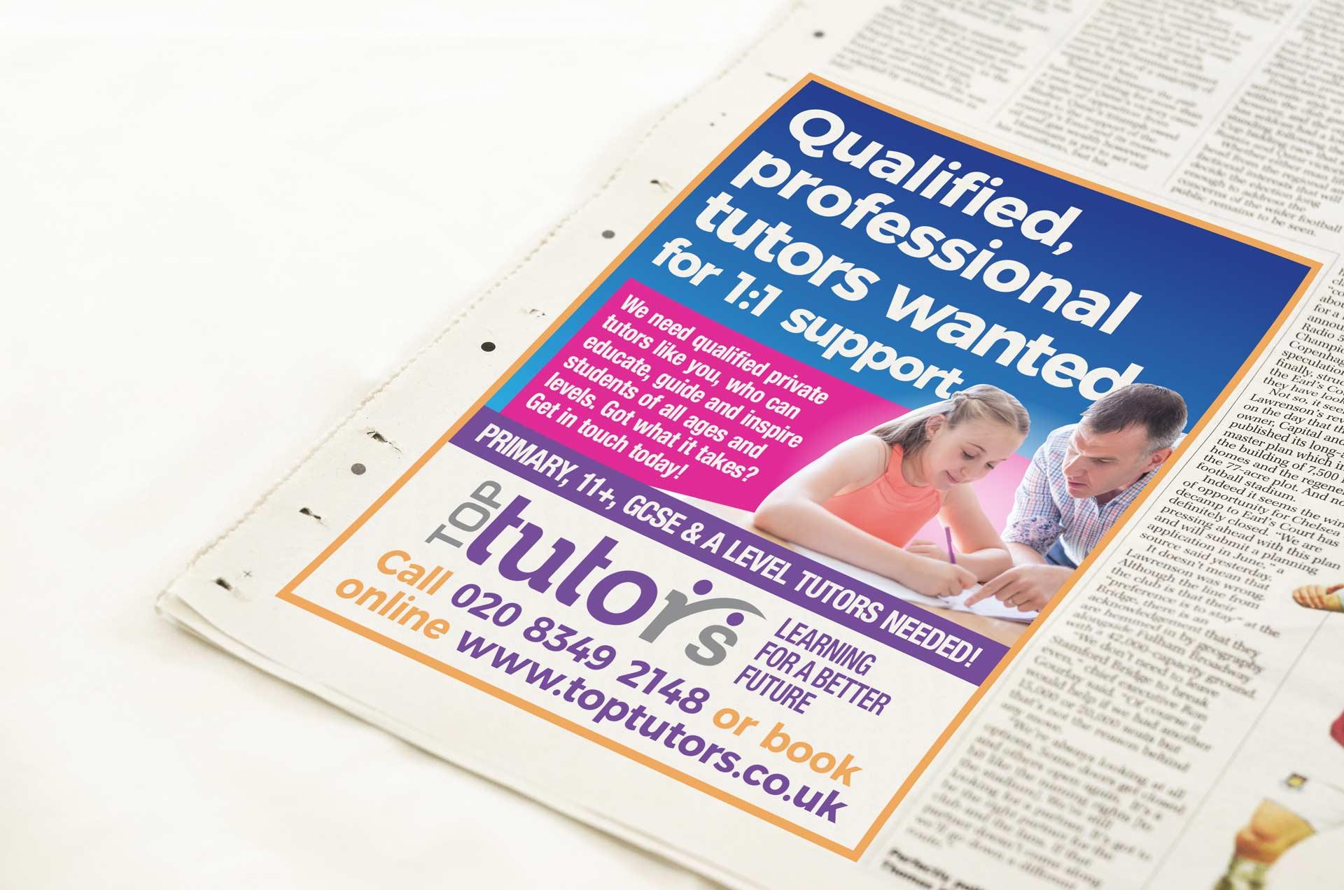 Top Tutors Tutor Recruitment advert