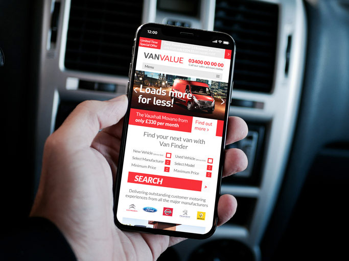 Van Value iPhone Website Design Mockup