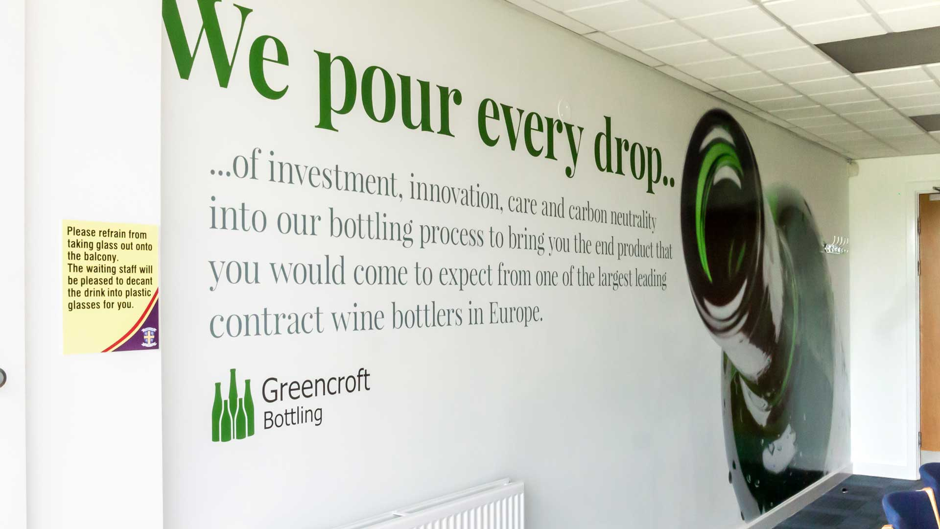 Greencroft Bottling Wall Graphic Design at an Angle