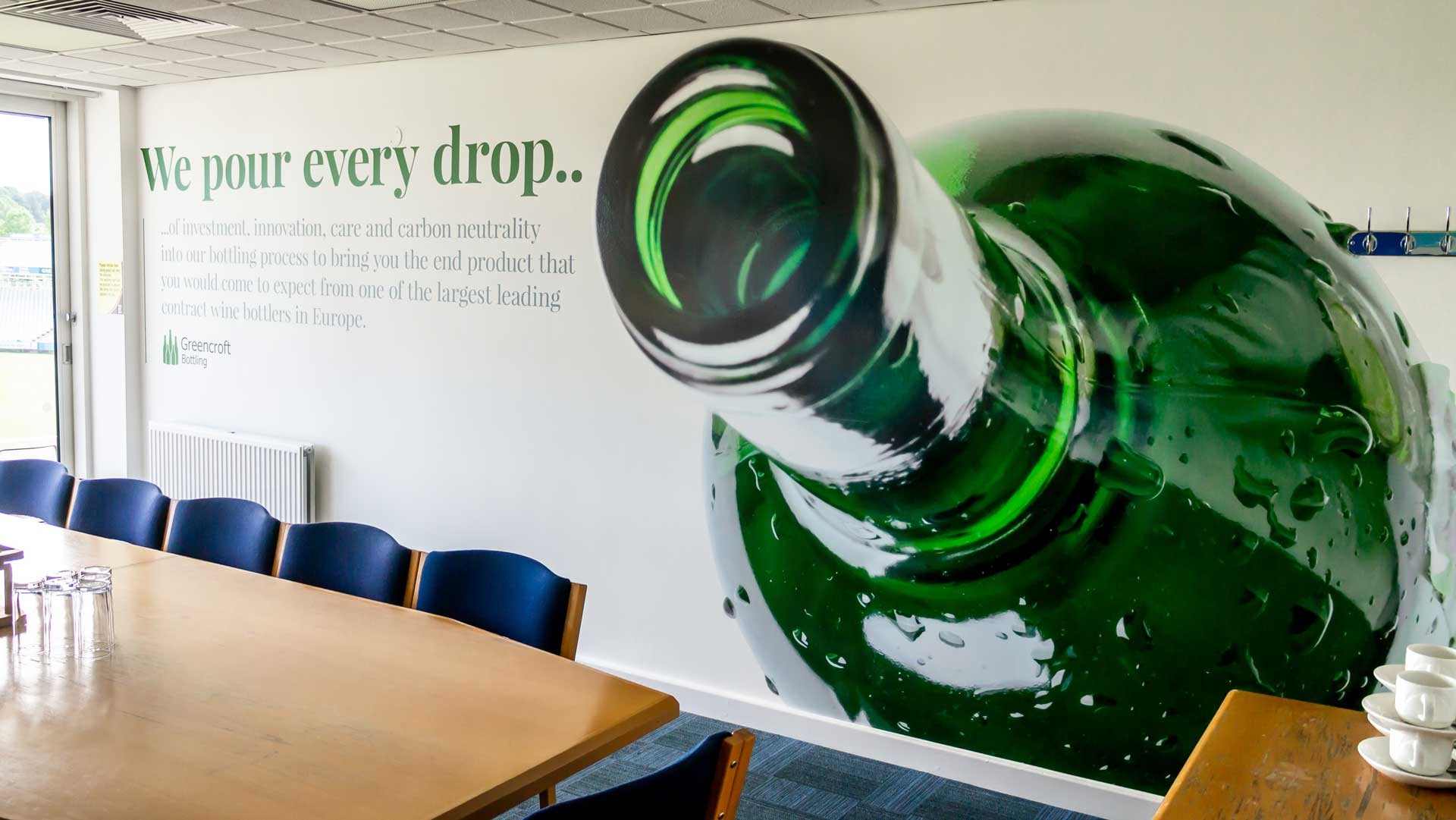 Greencroft Bottling Wall Graphic Design